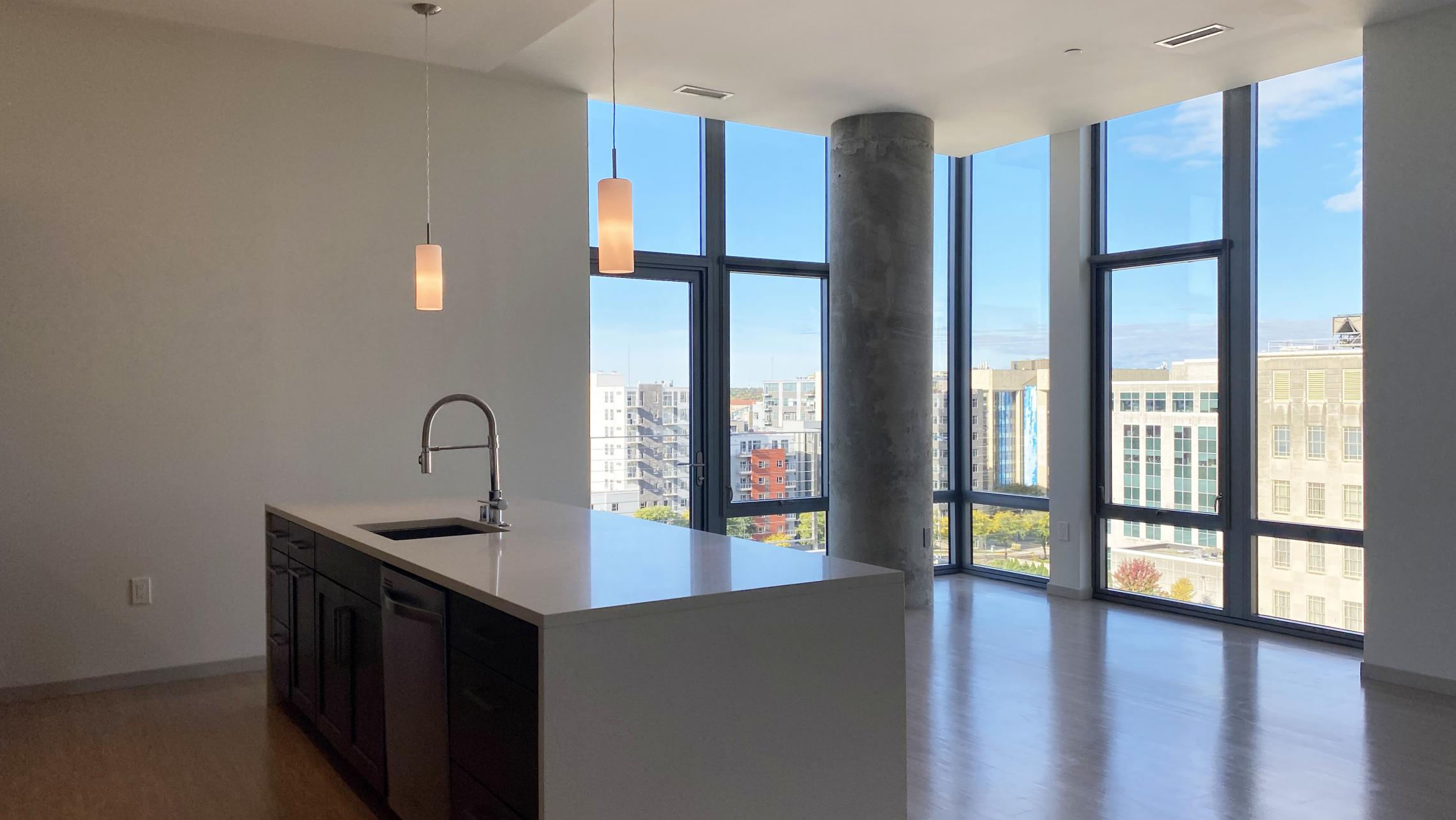 The-Pressman-Apartments-Two-Bedroom-912-Modern-Upscale-Luxury-Top-Floor-Capitol-Lake-View-Balcony-Corner-Lifestyle-Downtown-Madison-Design-Concrete-Kithcen-Living-Dining-Windows-Dogs-Cats-Pets-Fitness-Lounge