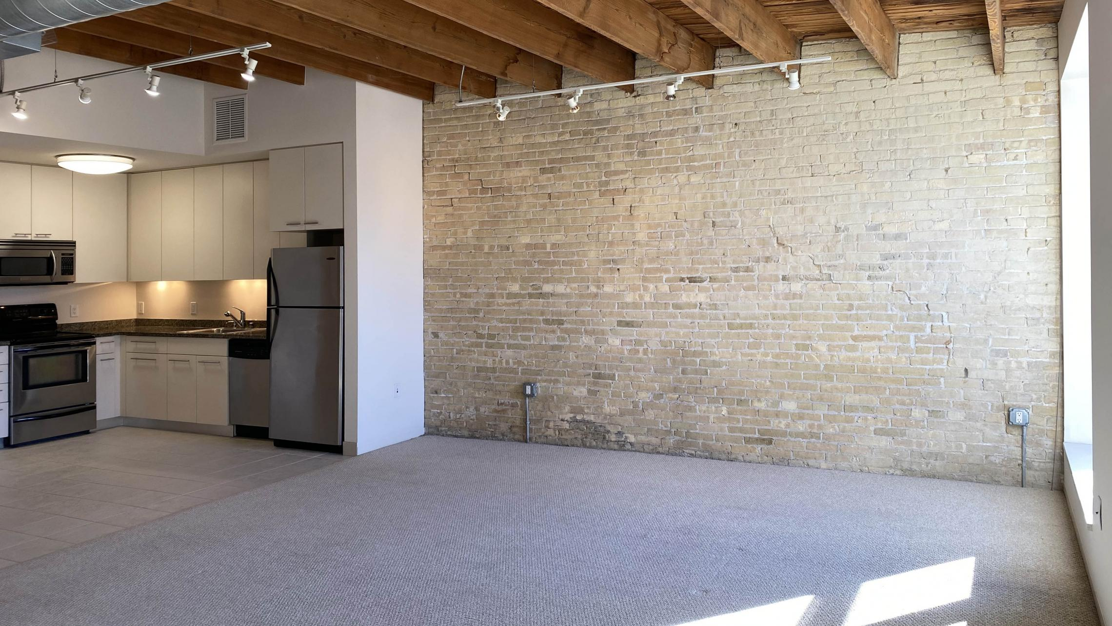 Tobacco-Lofts-at-The-Yards-Apartment-W206-Studio-Bathrom-Kitchen-Balcony-Historic-Exposed-Brick-Timber-Beams-Unique-Design-Cats-High-Ceiling-Balcony-Downtown-Madison-Fitness-Lounge-Courtyard-Top-Floor-Vaulted-Ceiling