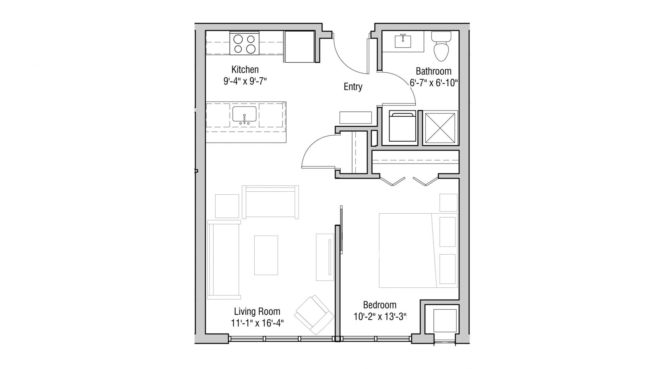 ULI Quarter Row Apartments - Unit 226 - One Bedroom, One Bathroom