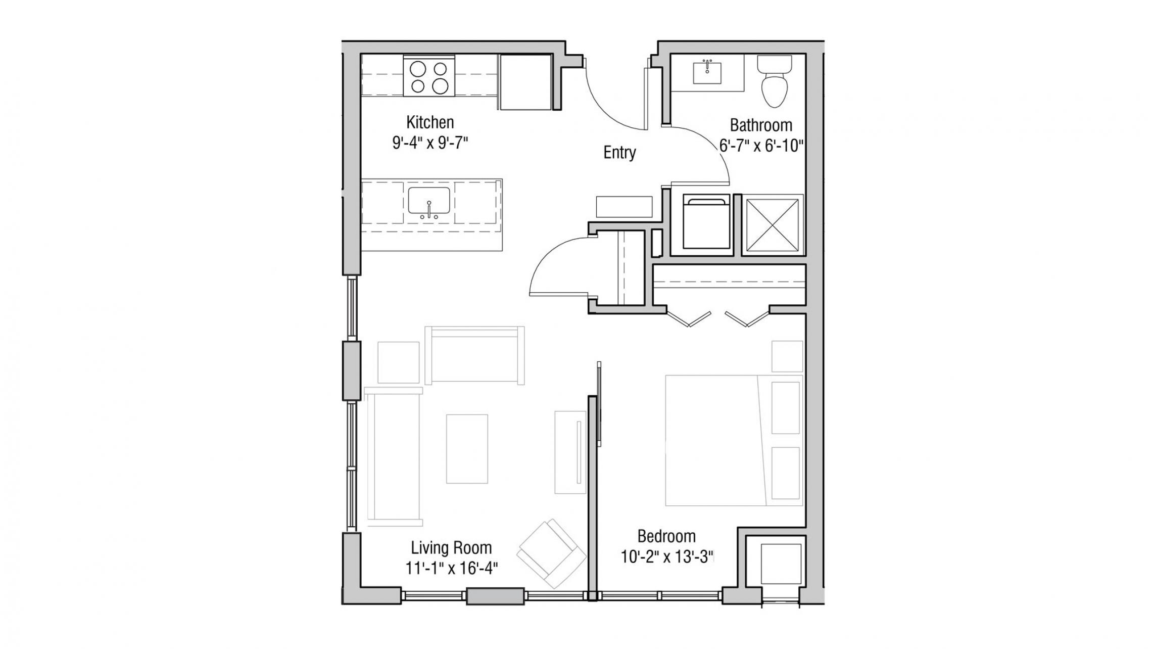 ULI Quarter Row Apartments - Unit 326 - One Bedroom, One Bathroom