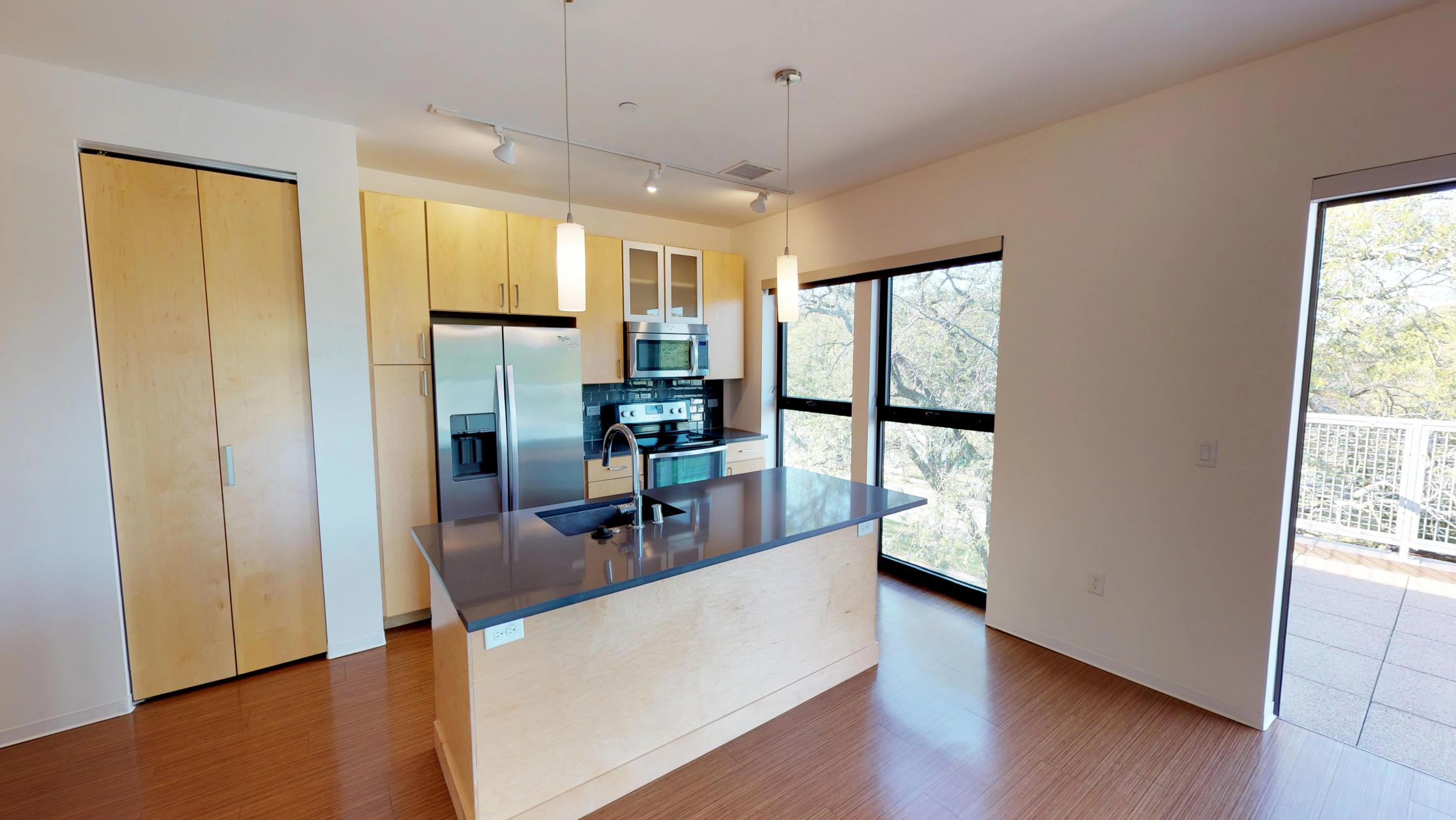 SEVEN27-Apartment 310 - Kitchen - One bedroom - floor to ceiling windows - modern