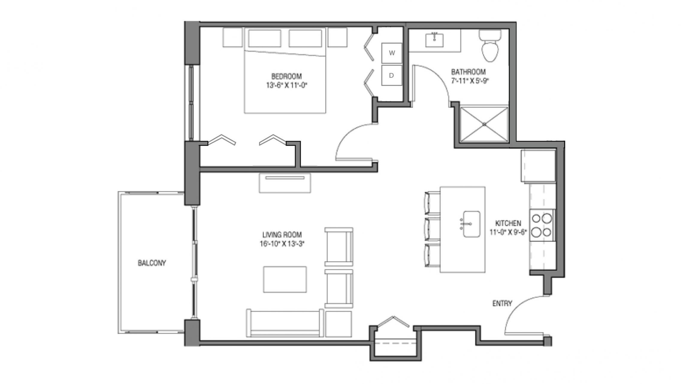 ULI One Bedroom Accessible Floorplan