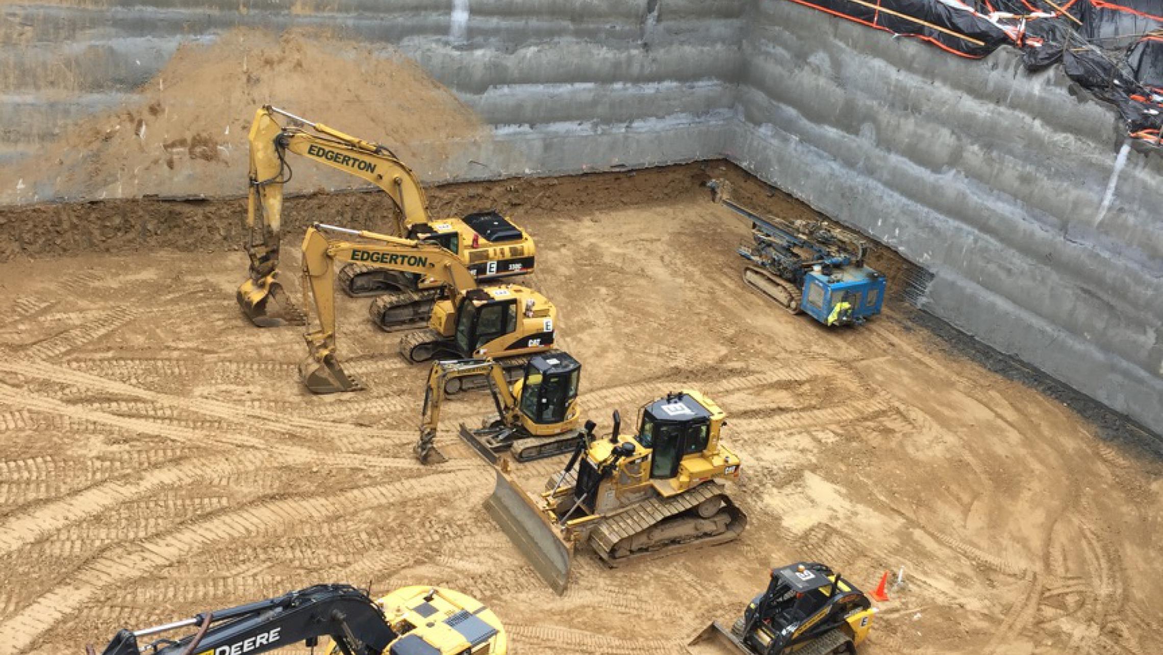 ULI 25 West Main Construction Equipment in Future Parking Ramp