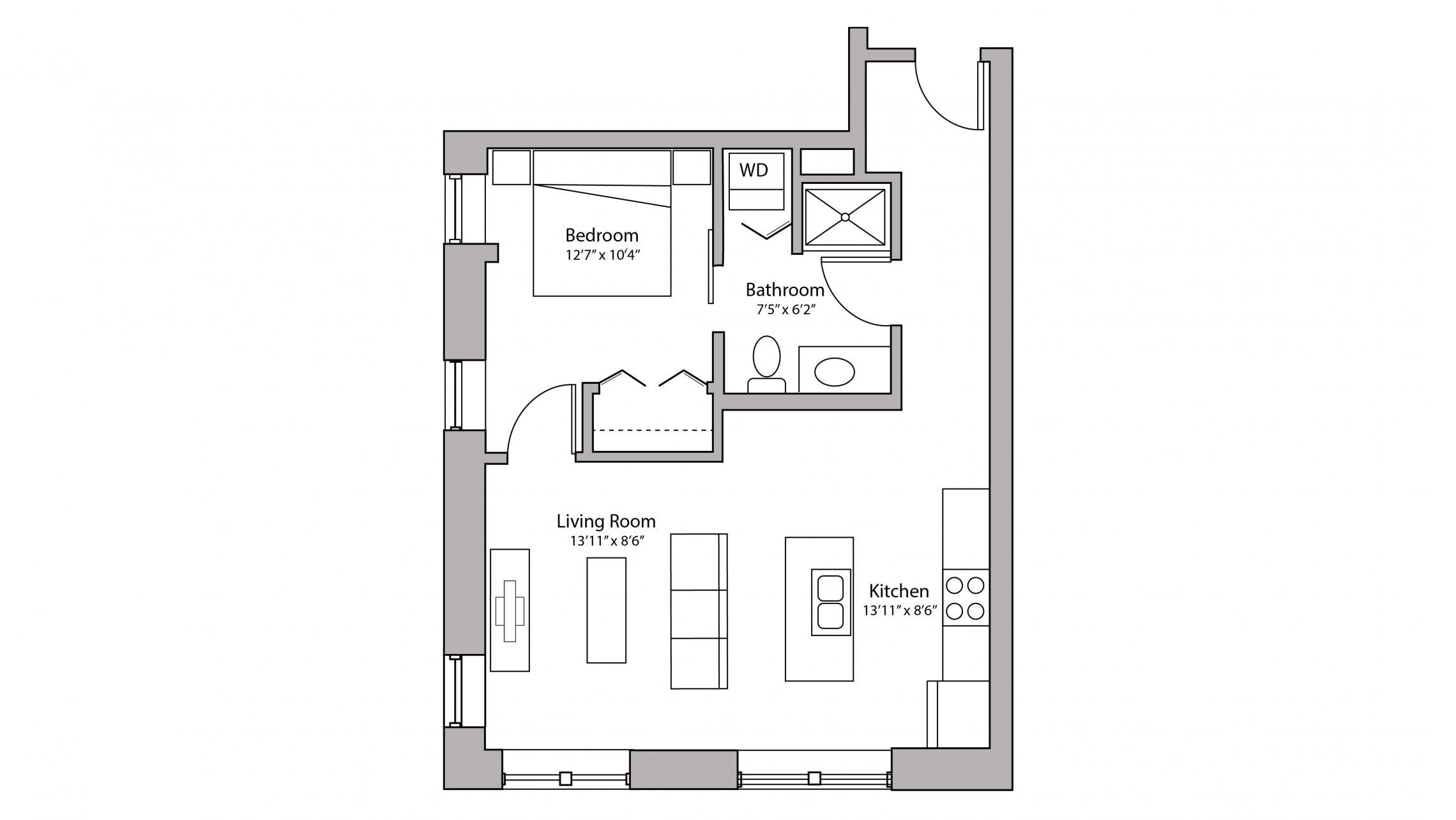 ULI Capitol Hill 407 - One Bedroom, One Bathroom Floorplan