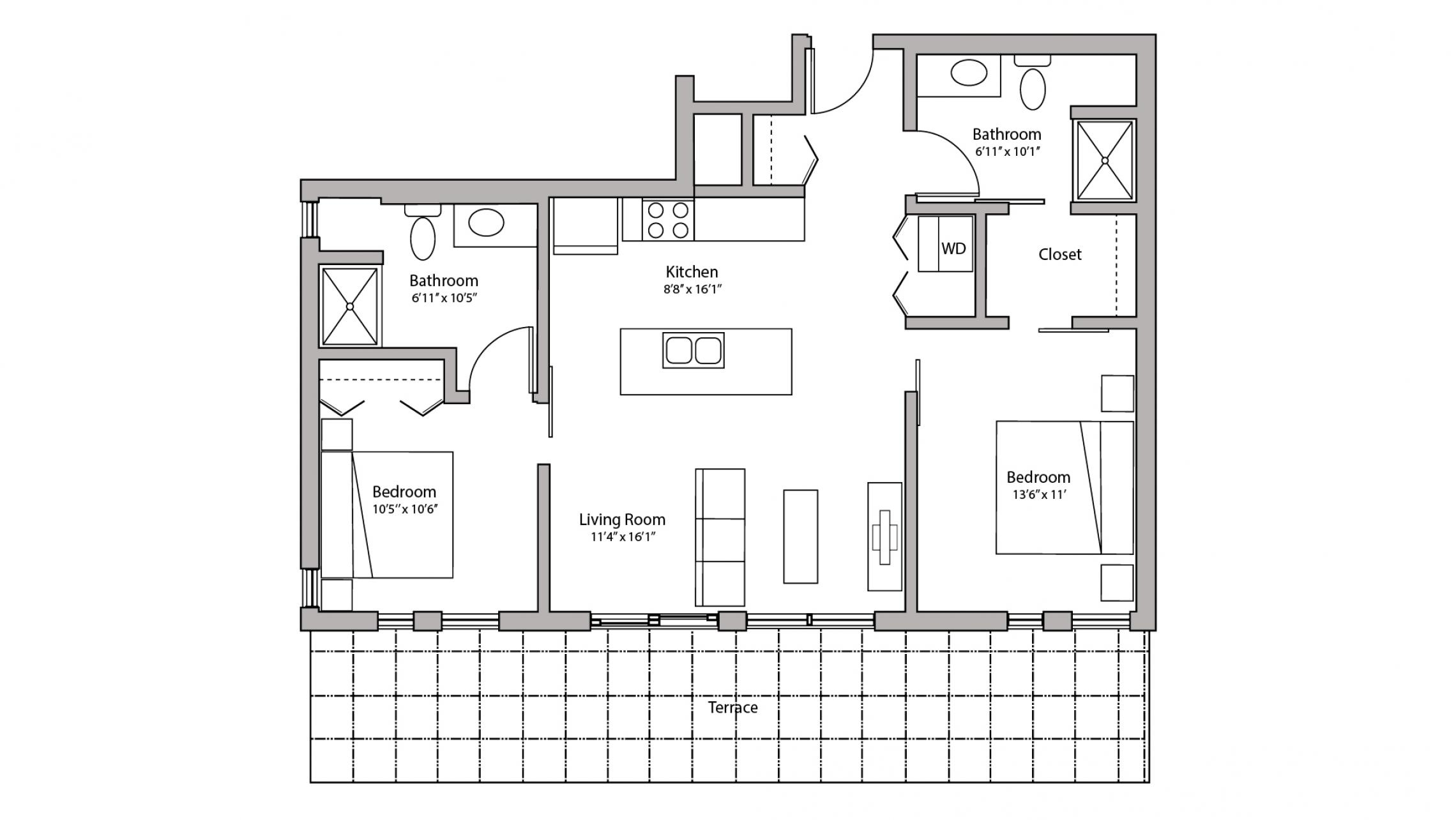 ULI Capitol Hill 503 - Two Bedroom, Two Bathroom Floorplan
