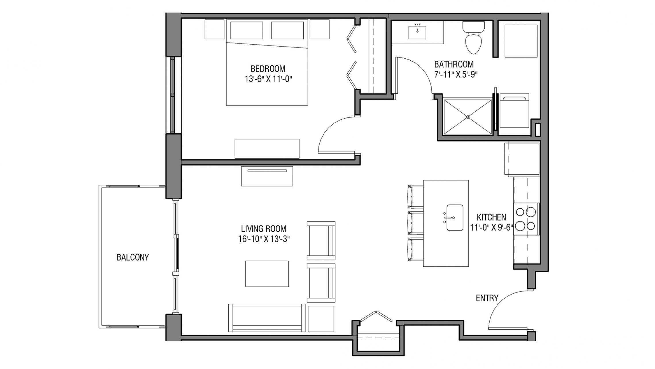 ULI Nine Line 216 - One Bedroom, One Bathroom