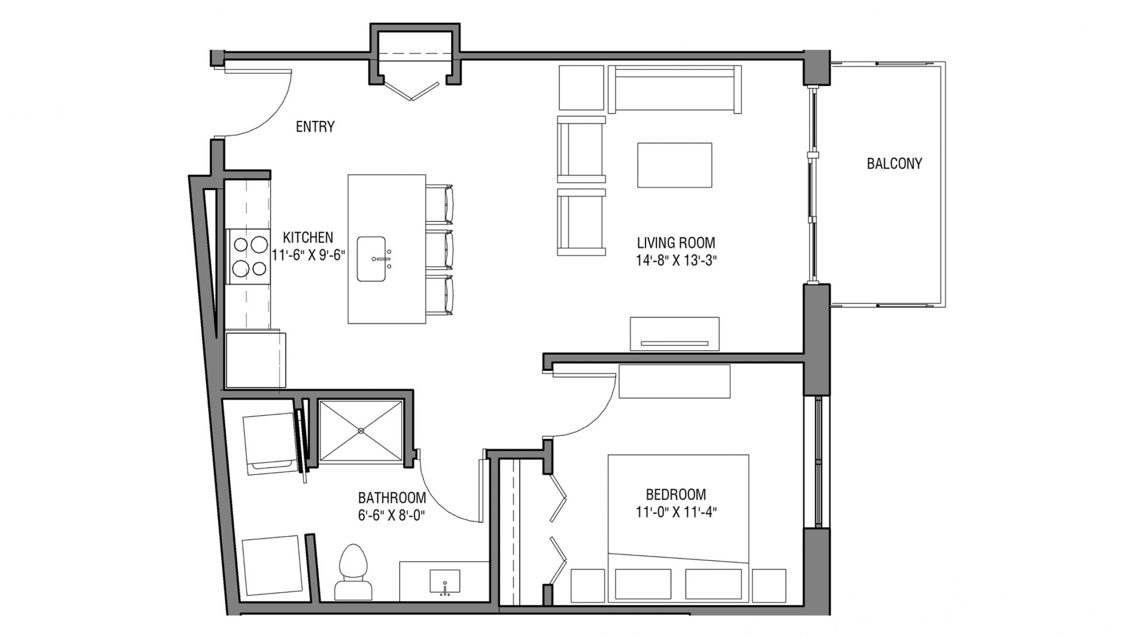 ULI Nine Line 307 - One Bedroom, One Bathroom