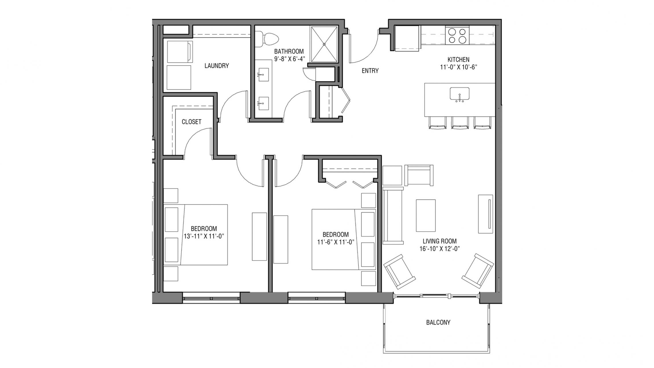 ULI Nine Line 323 - Two Bedroom, One Bathroom