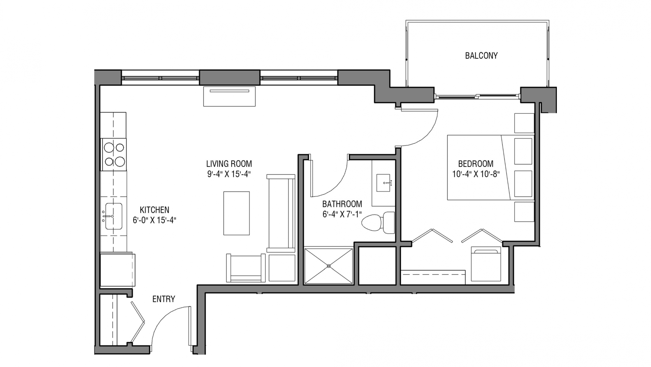 ULI Nine Line 412 - One Bedroom, One Bathroom