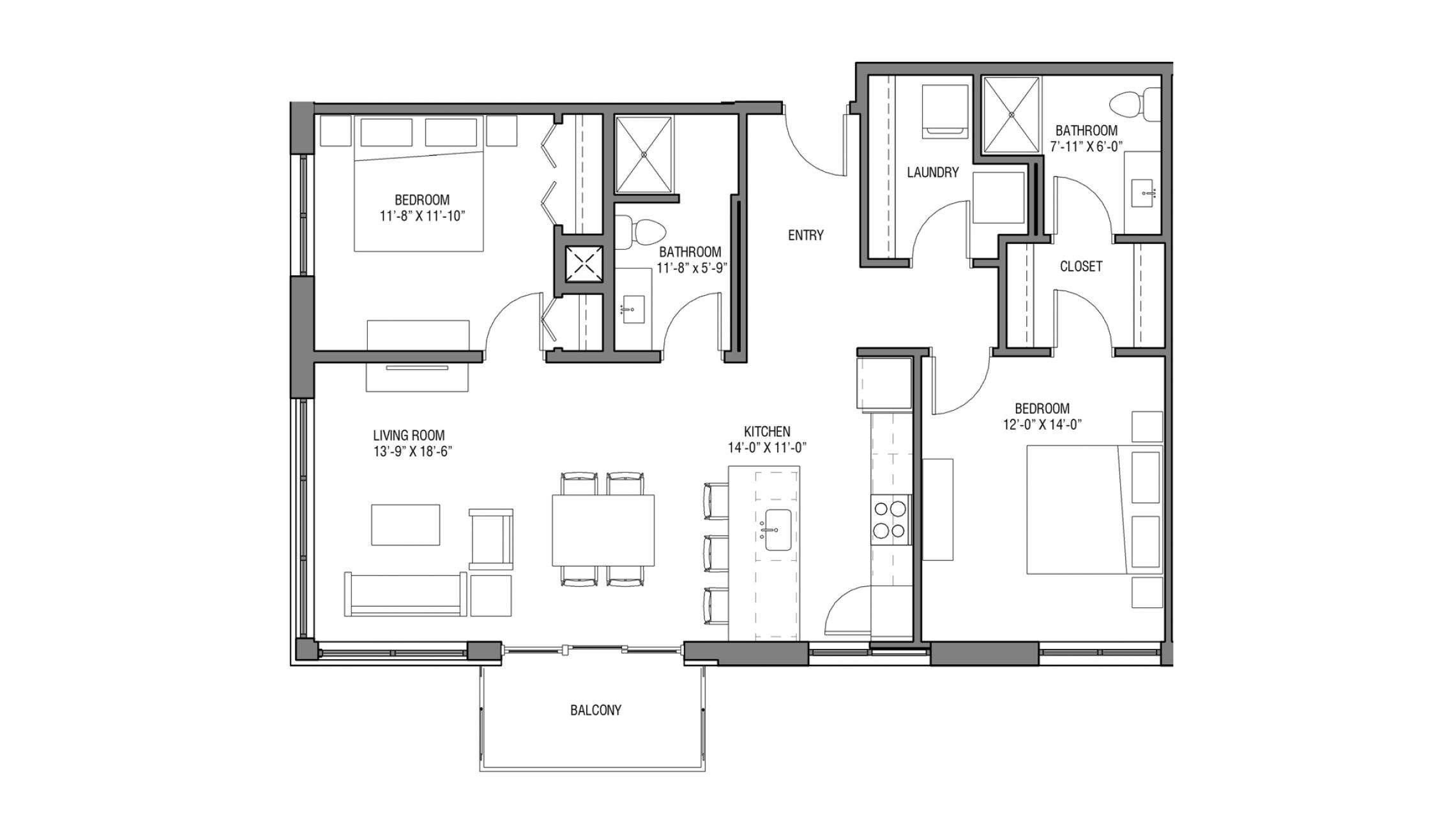 ULI Nine Line 414 - Two Bedroom, Two Bathroom