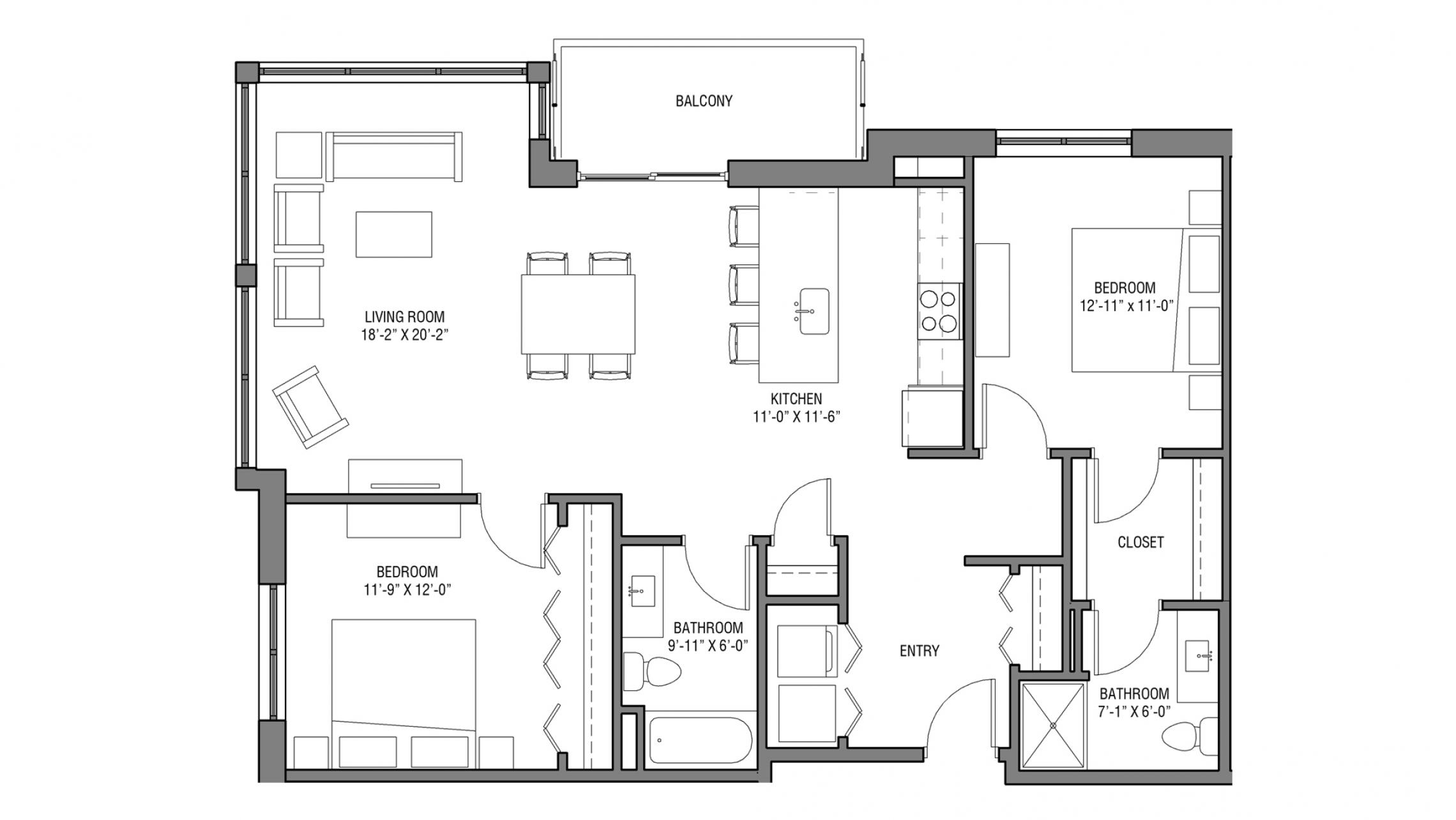 ULI Nine Line 503 - Two Bedroom, Two Bathroom