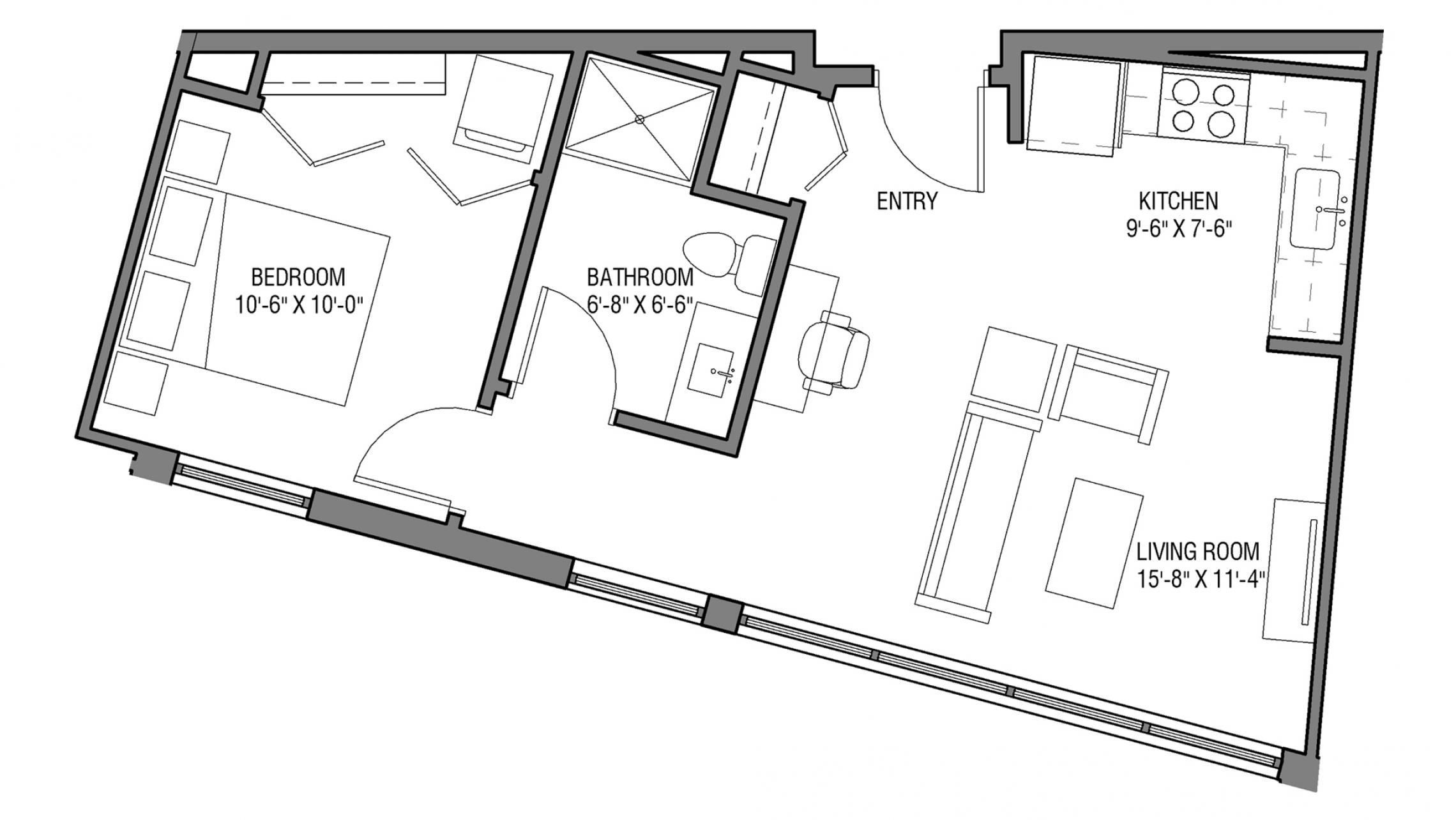 ULI Nine Line 509 - One Bedroom, One Bathroom
