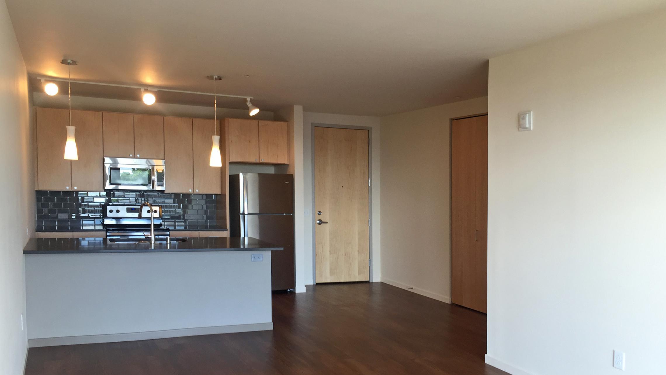 ULI Nine Line Apartment 323 - Kitchen and Living Area