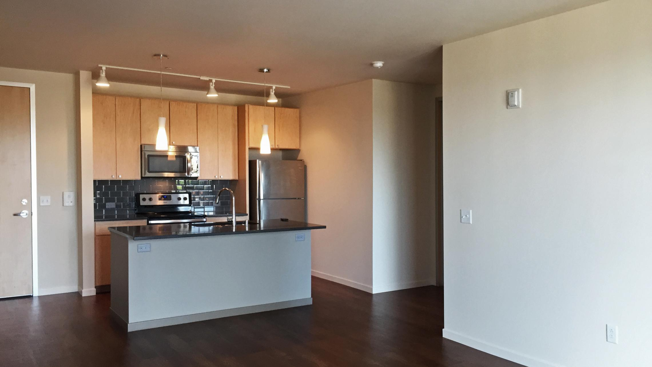 ULI Nine Line Apartment 422 - Kitchen and Living Area