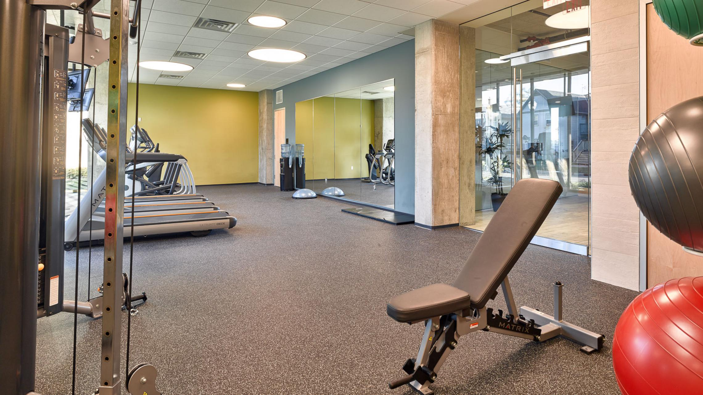 ULI Nine Line Apartments - Fitness Center with Modern Equipment
