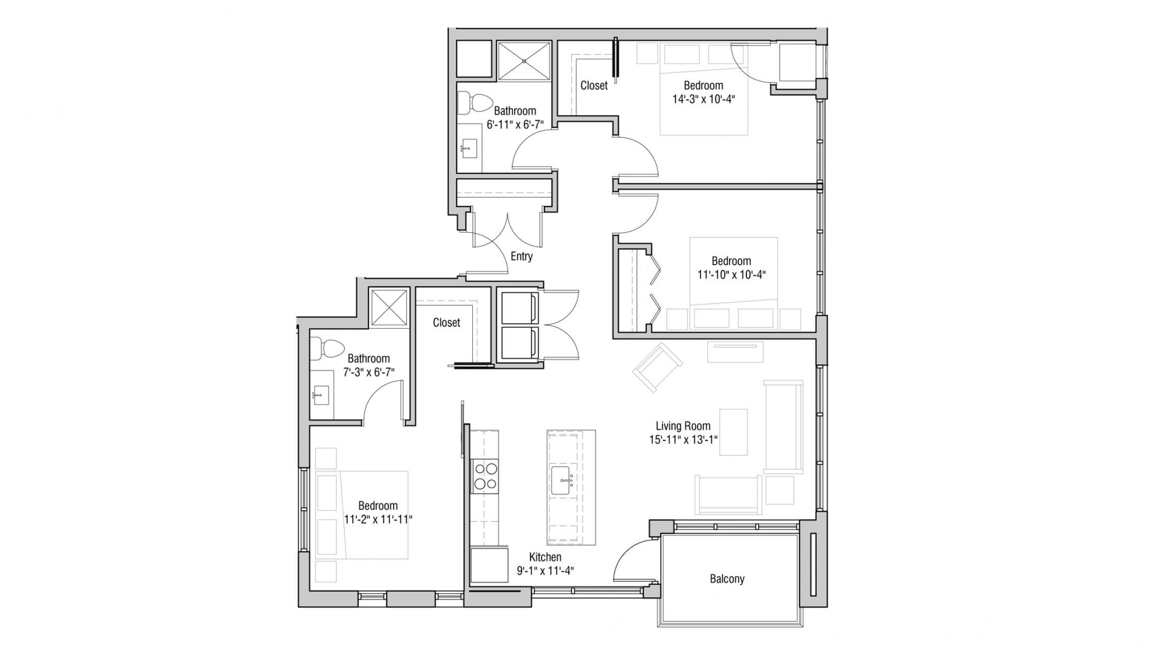 ULI Quarter Row 101 - Three Bedroom, Two Bathroom