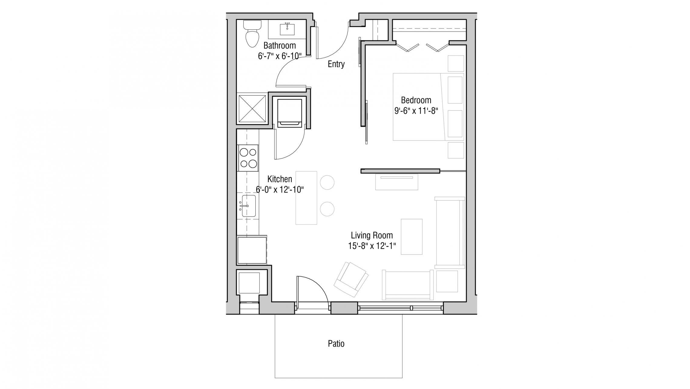 ULI Quarter Row 104 - One Bedroom, One Bathroom