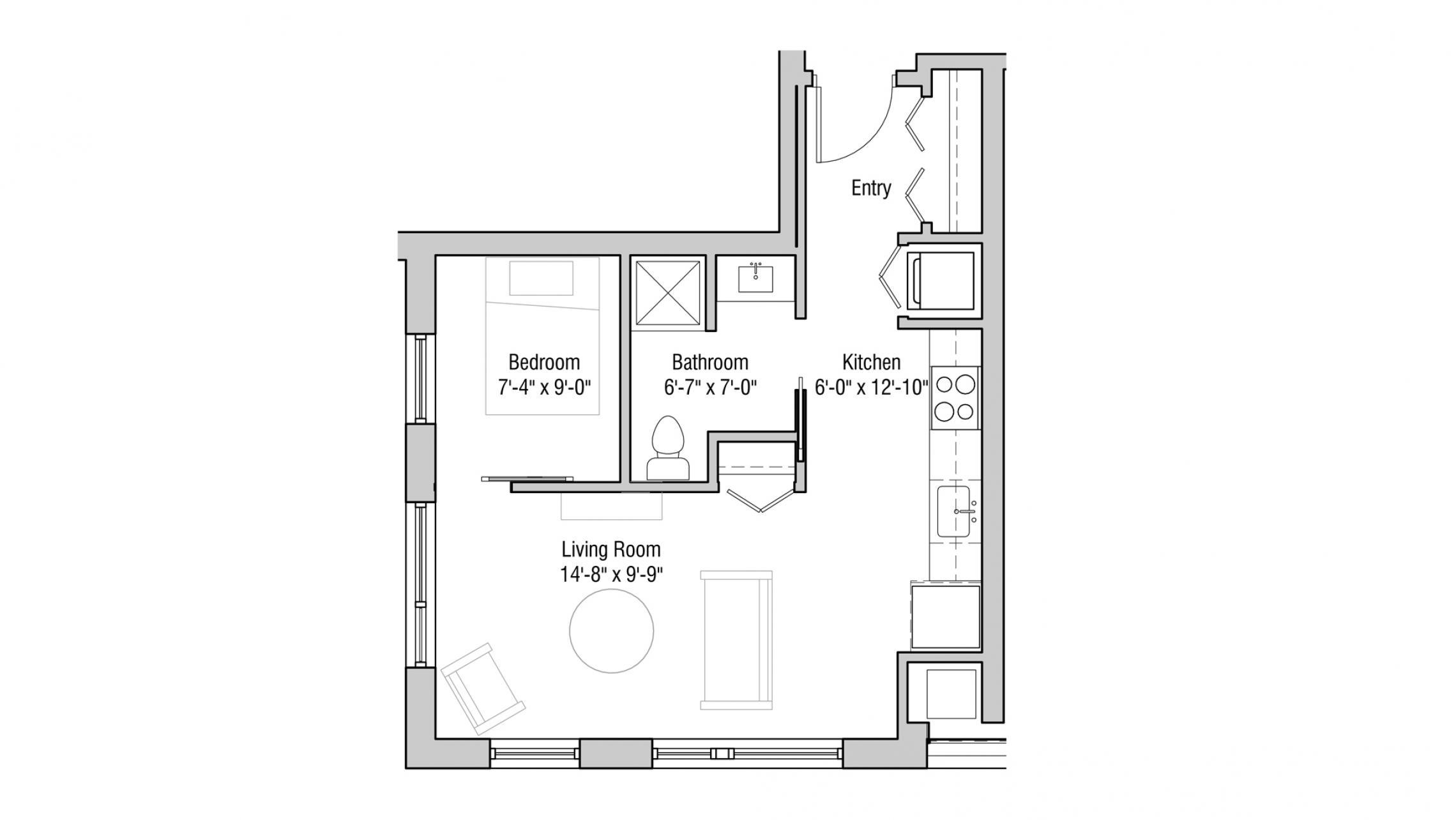 ULI Quarter Row 126 - Studio, One Bathroom