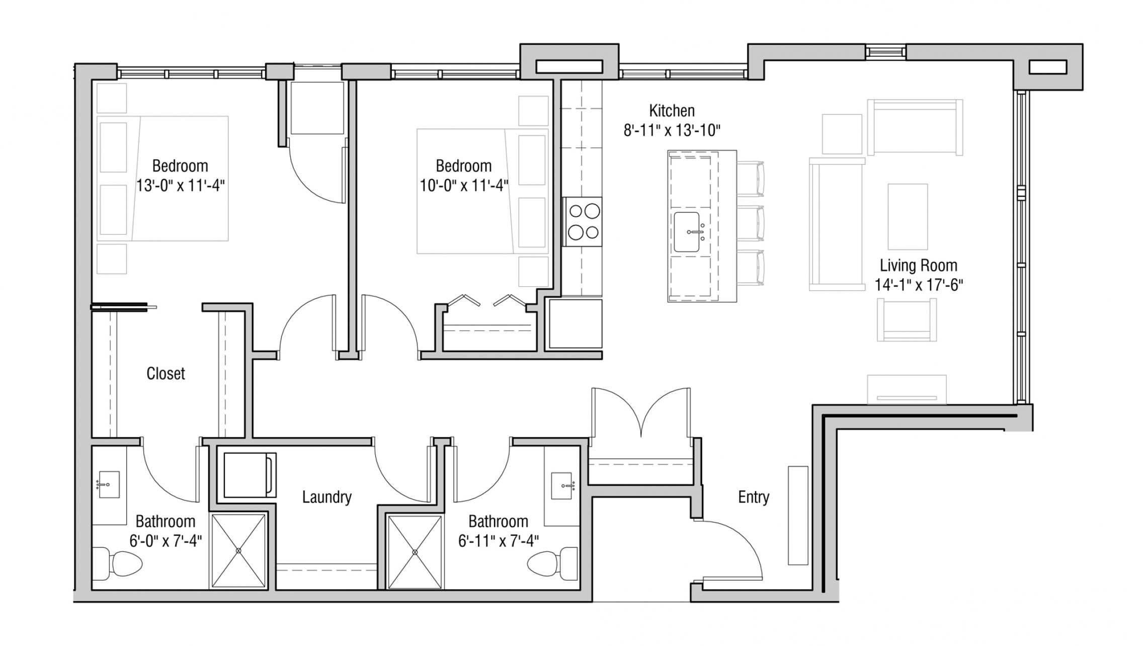 ULI Quarter Row 215 - Two Bedroom, Two Bathroom