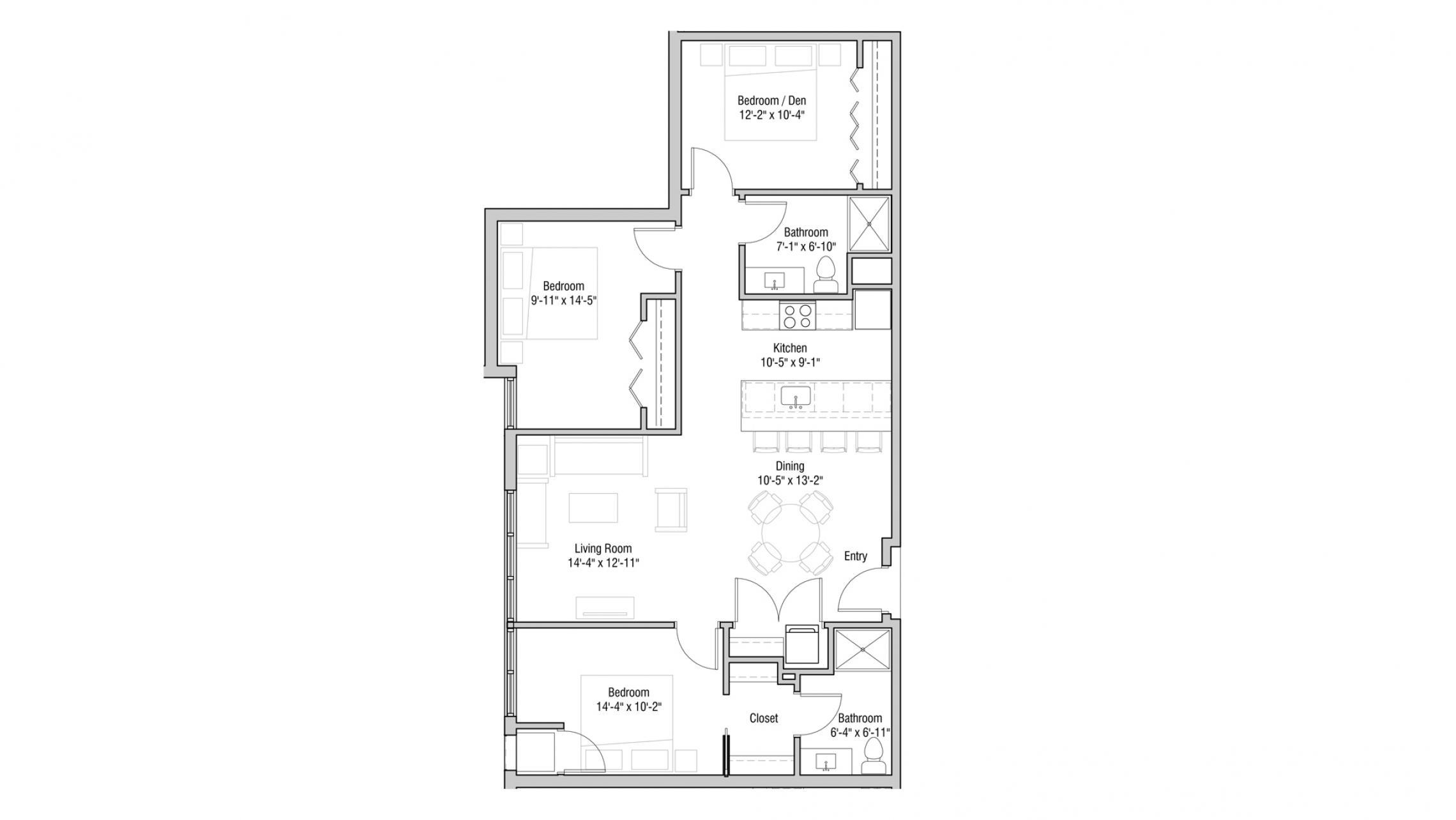 ULI Quarter Row 410 - Two Bedroom, Two Bathroom