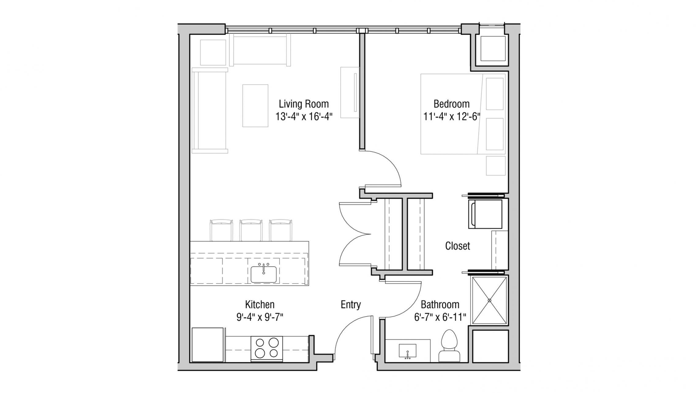 ULI Quarter Row 419 - One Bedroom, One Bathroom