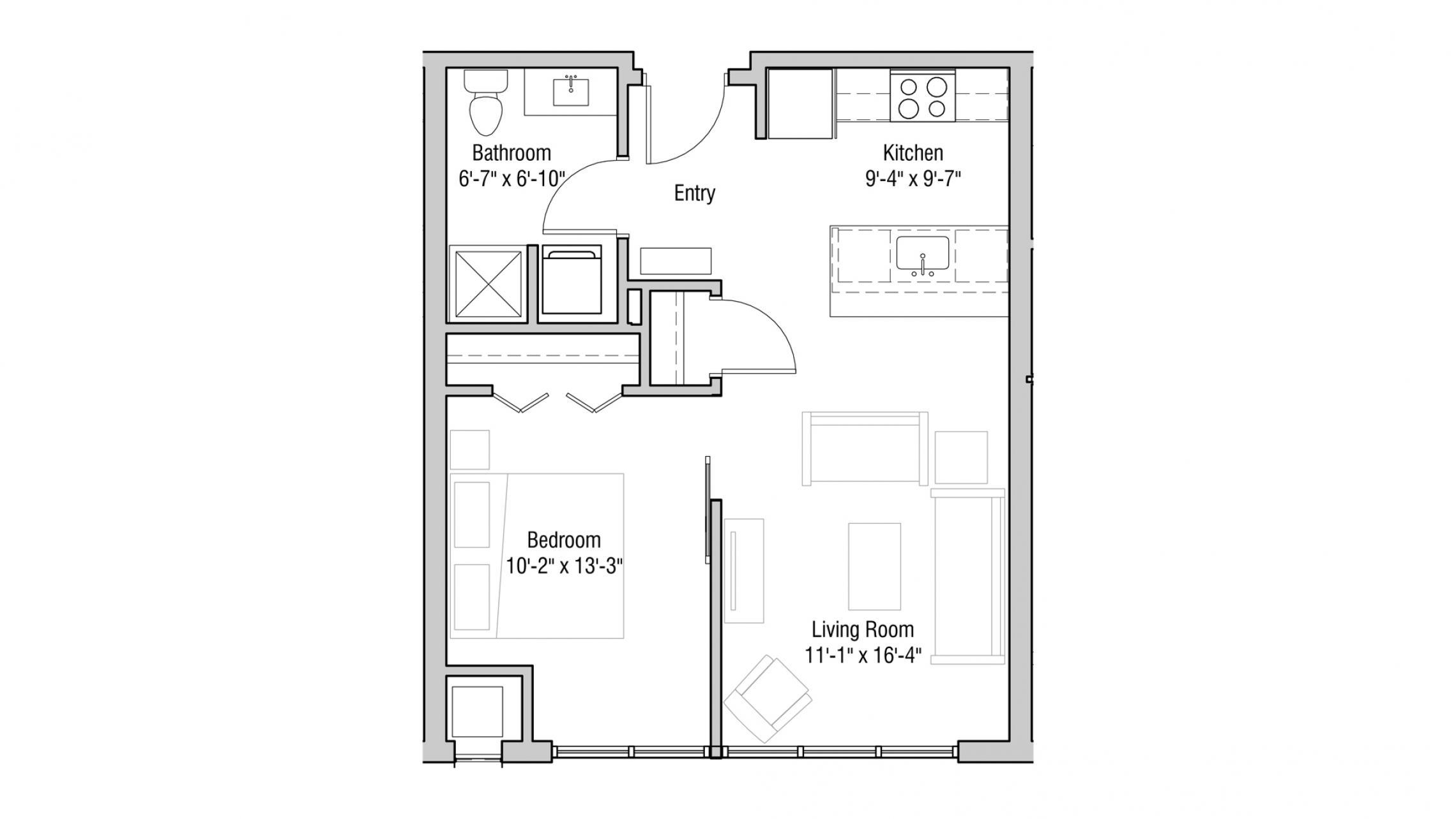 ULI Quarter Row 420 - One Bedroom,  One Bathroom
