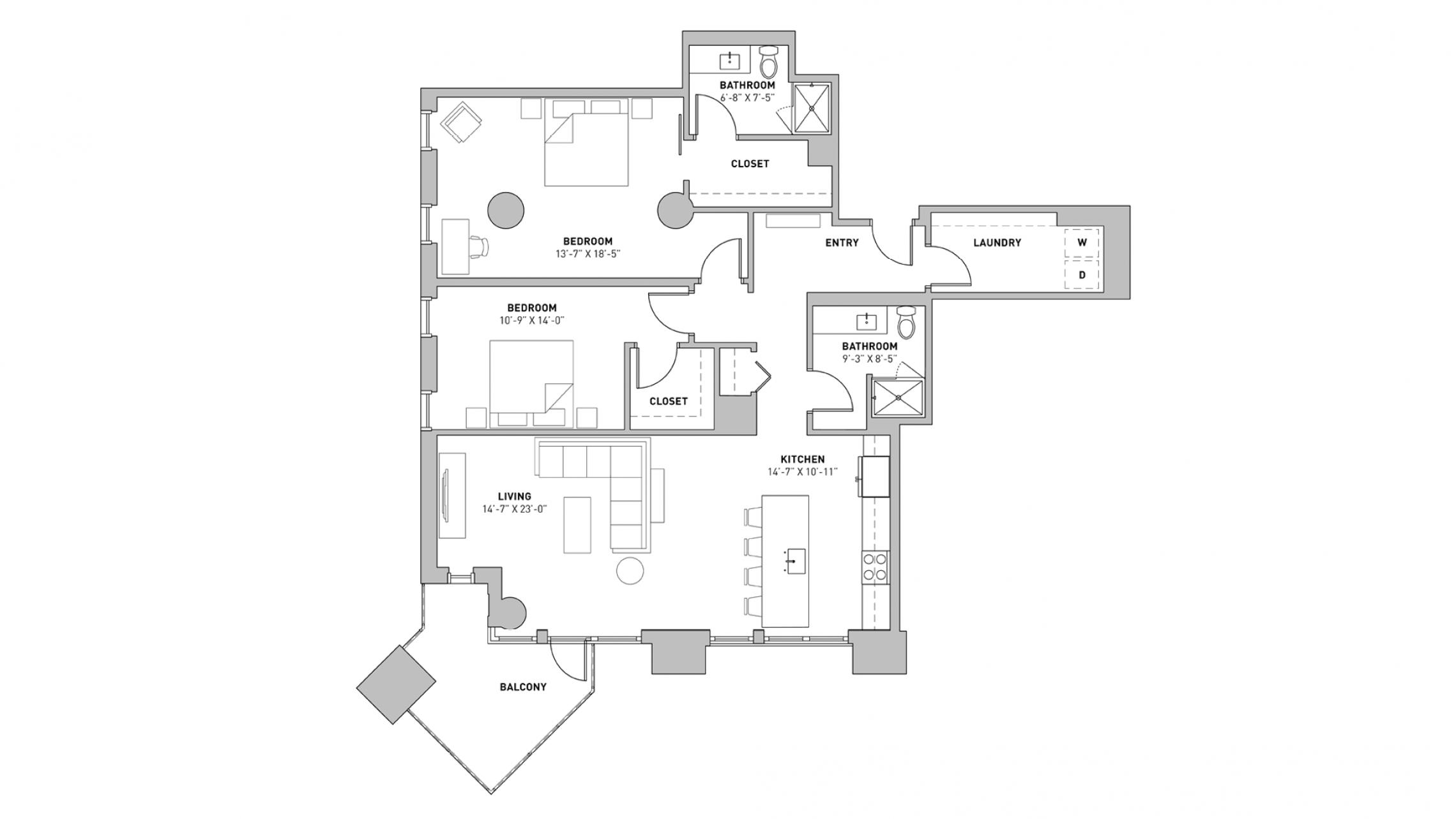 ULI The Pressman 302 - Two Bedroom, Two Bathroom
