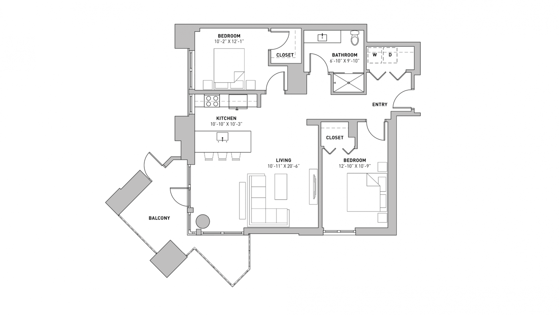 ULI The Pressman 312 - Two Bedroom, One Bathroom