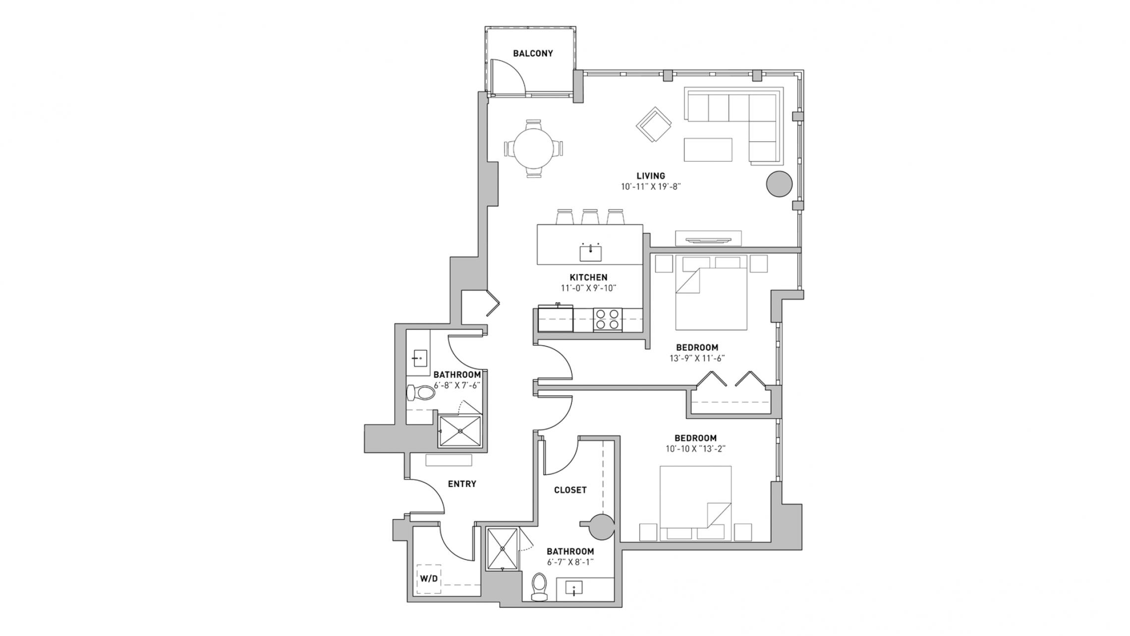 ULI The Pressman 407 - Two Bedroom, Two Bathroom