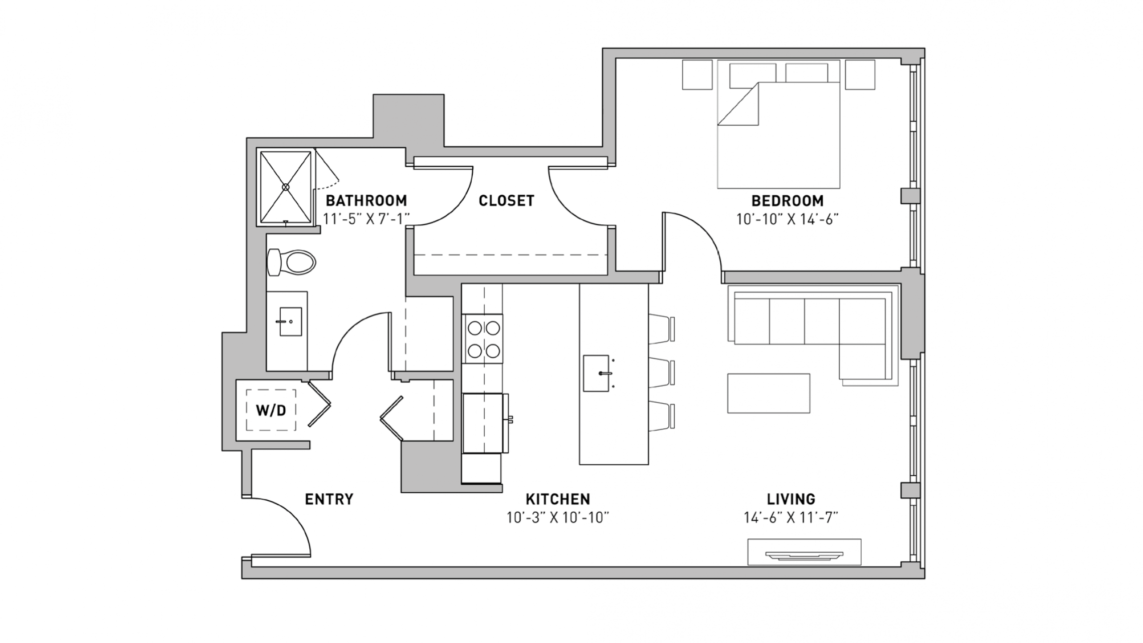 ULI The Pressman 509 - One Bedroom, One Bathroom