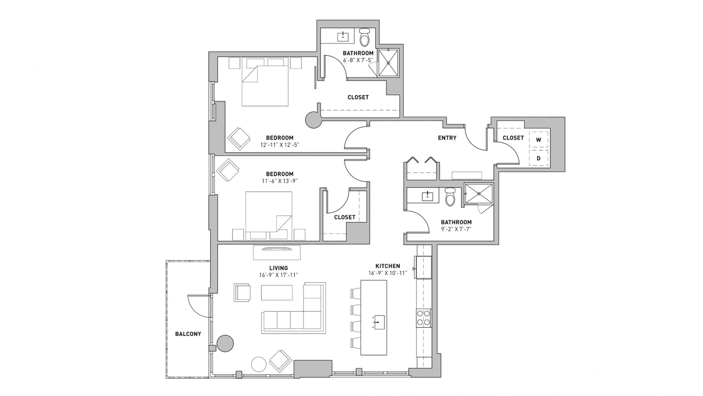 ULI The Pressman 702 - Two Bedroom, Two Bathroom