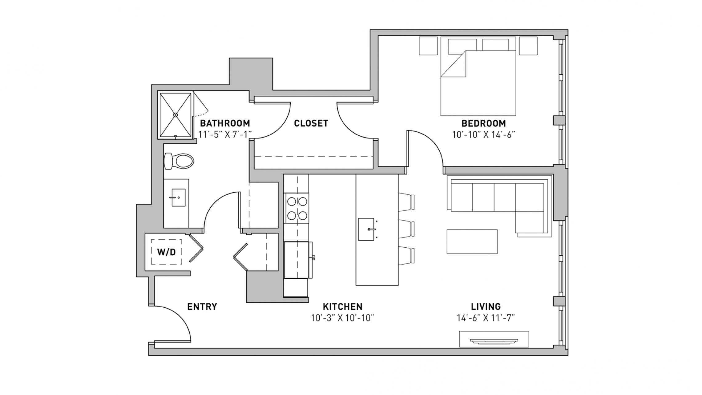 ULI The Pressman 709 - One Bedroom, One Bathroom