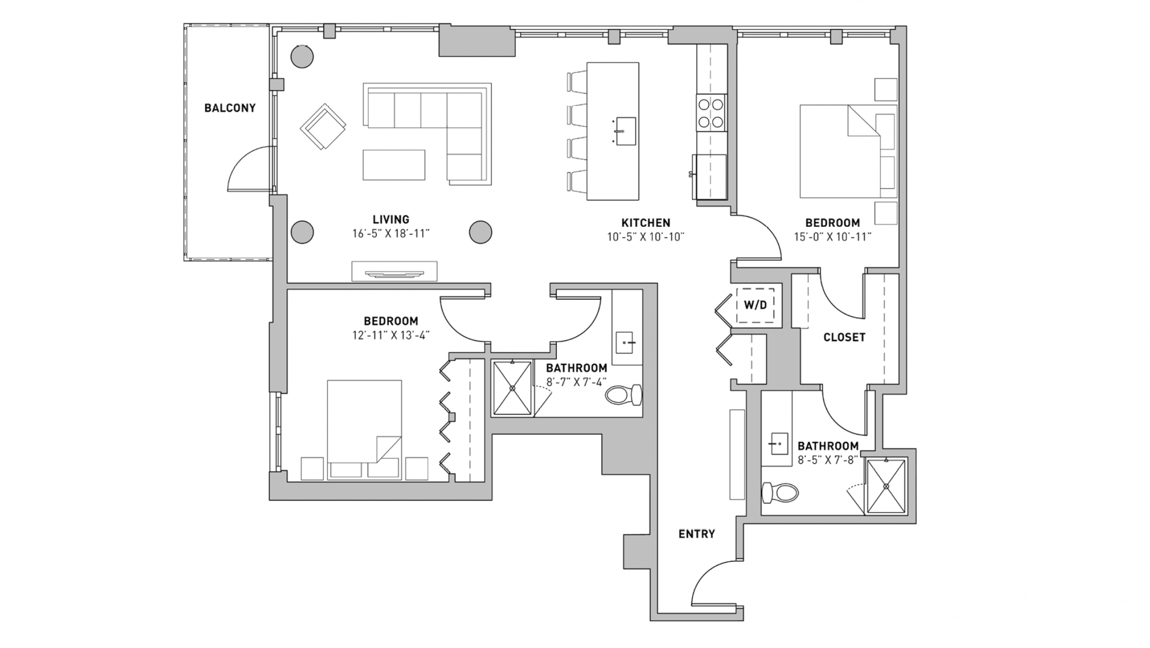 ULI The Pressman 801 - Two Bedroom, Two Bathroom