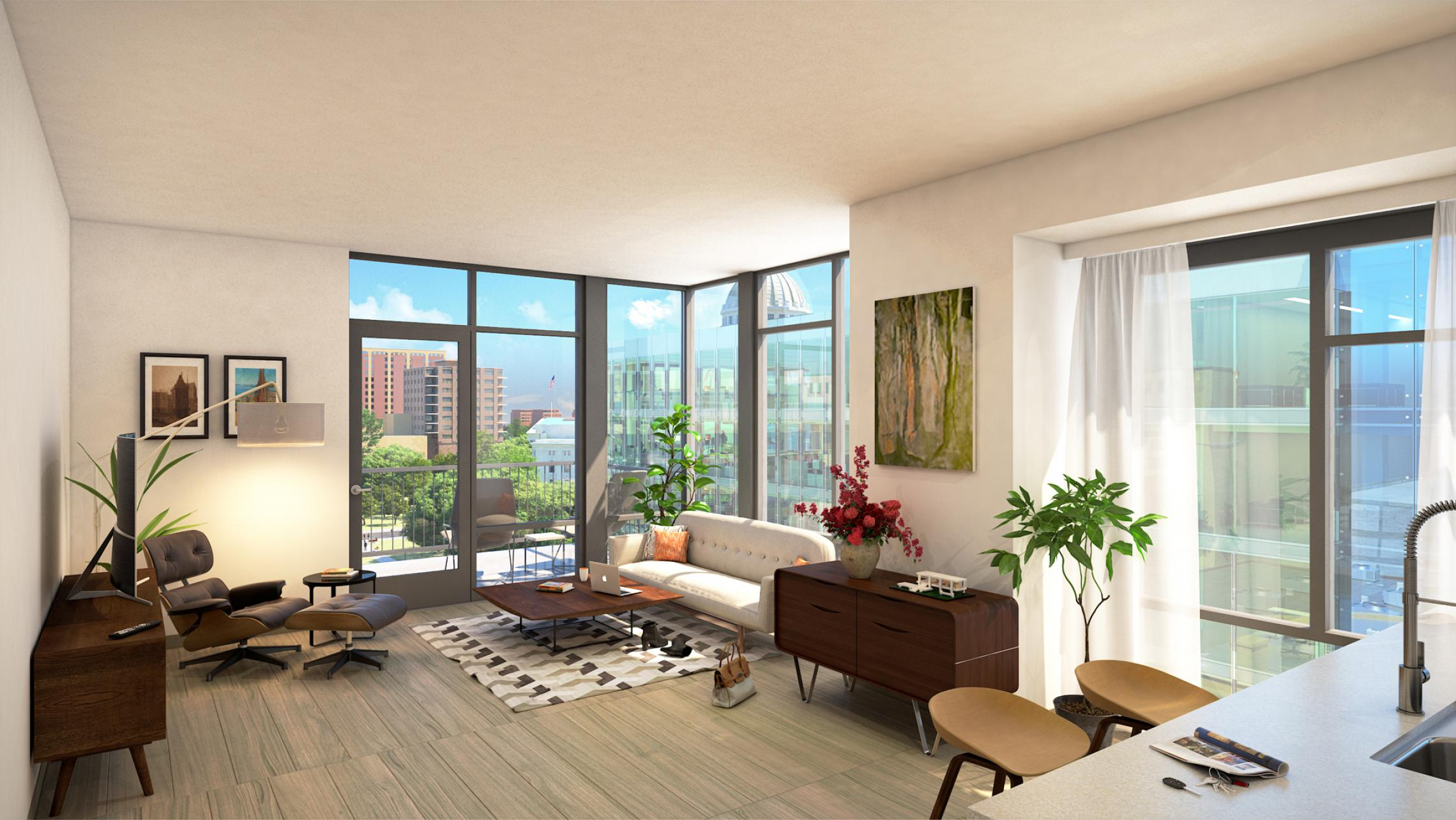 ULI The Pressman - Living Room with Capitol View Rendering