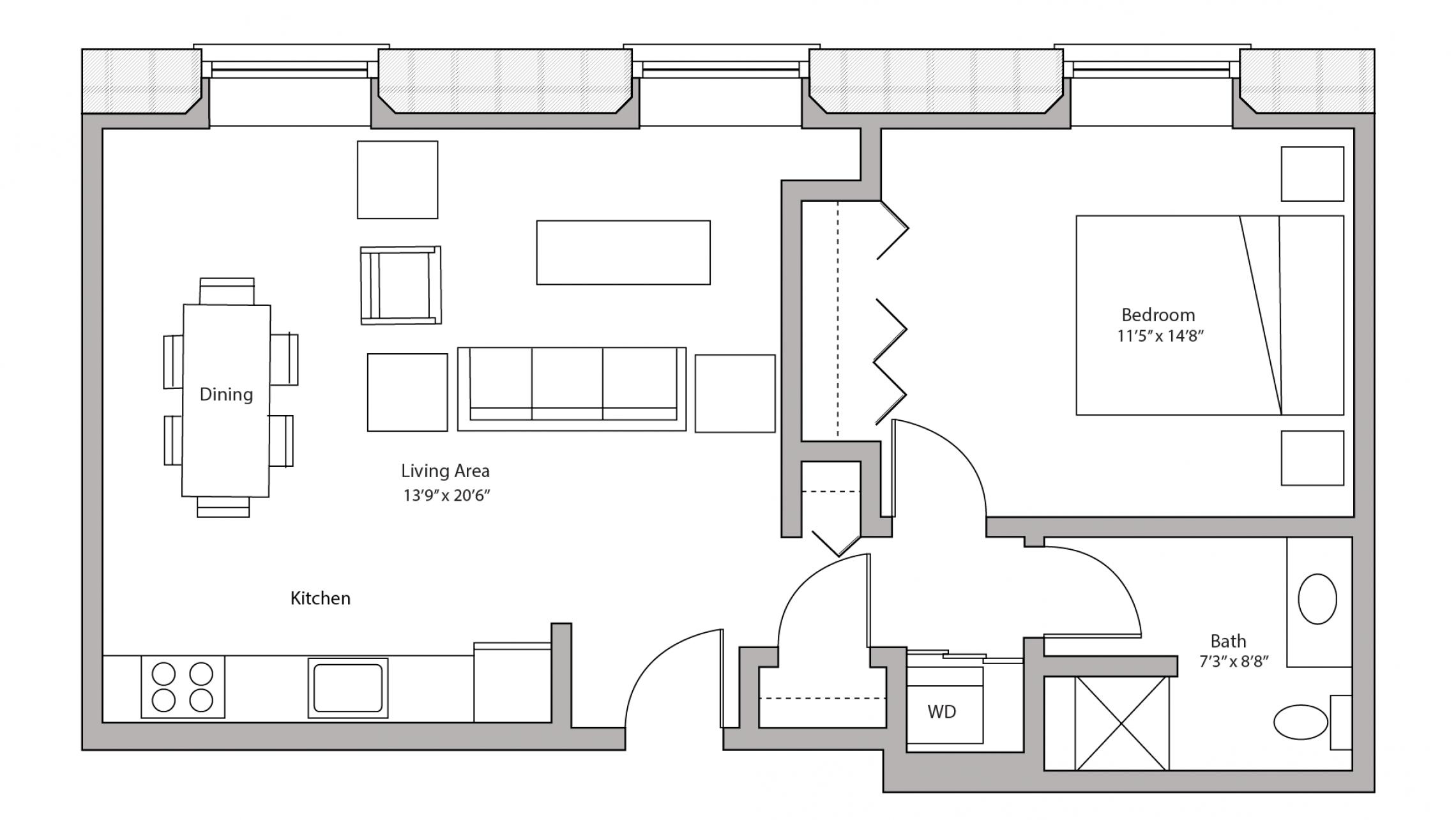 ULI Tobacco Lofts E103 - One Bedroom, One Bathroom