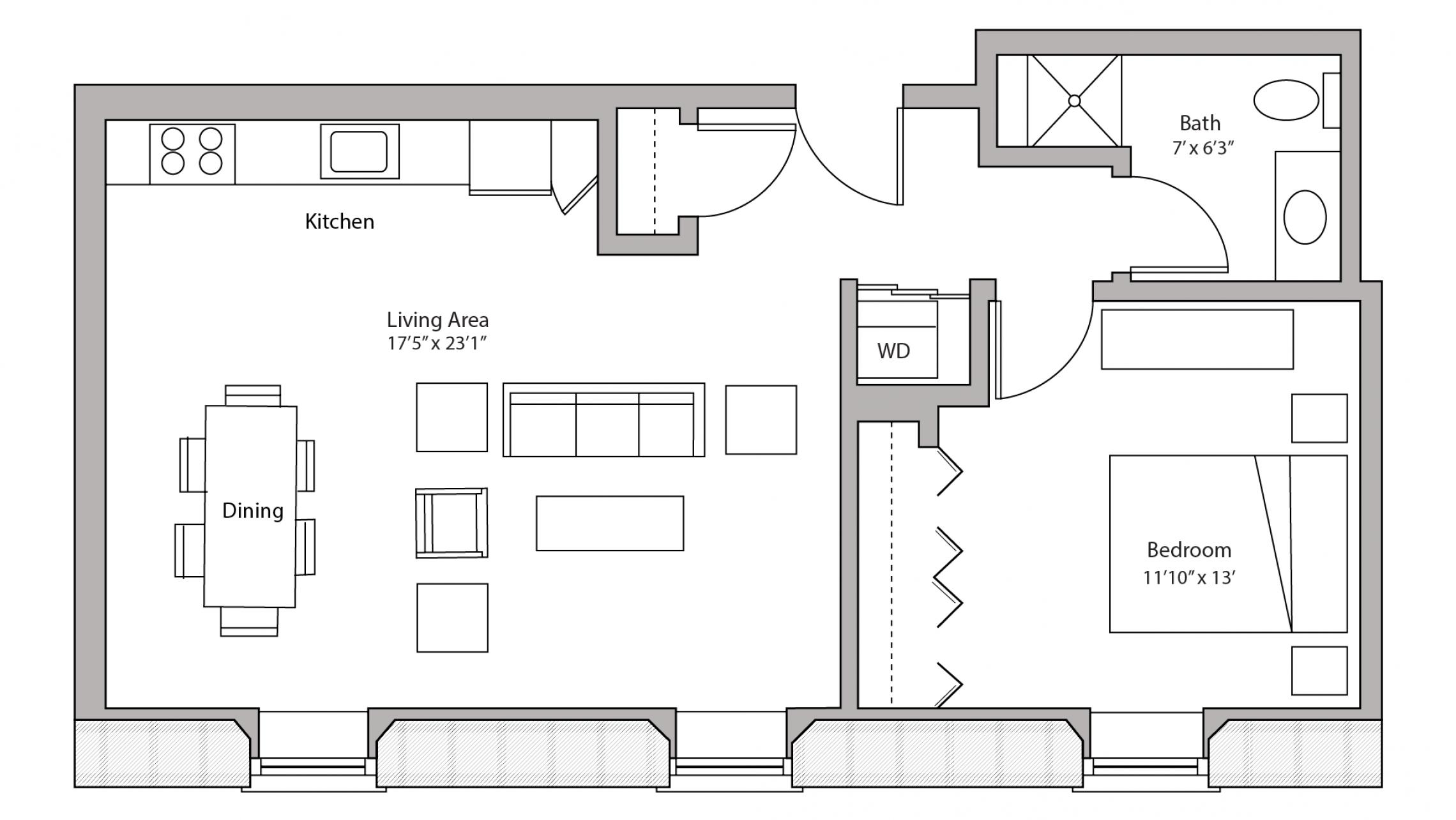 ULI Tobacco Lofts E110 - One Bedroom, One Bathroom