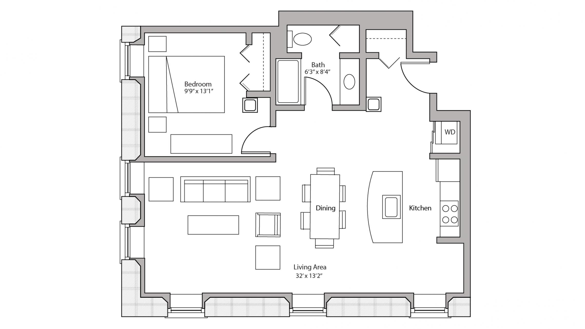 ULI Tobacco Lofts E112 - One Bedroom, One Bathroom
