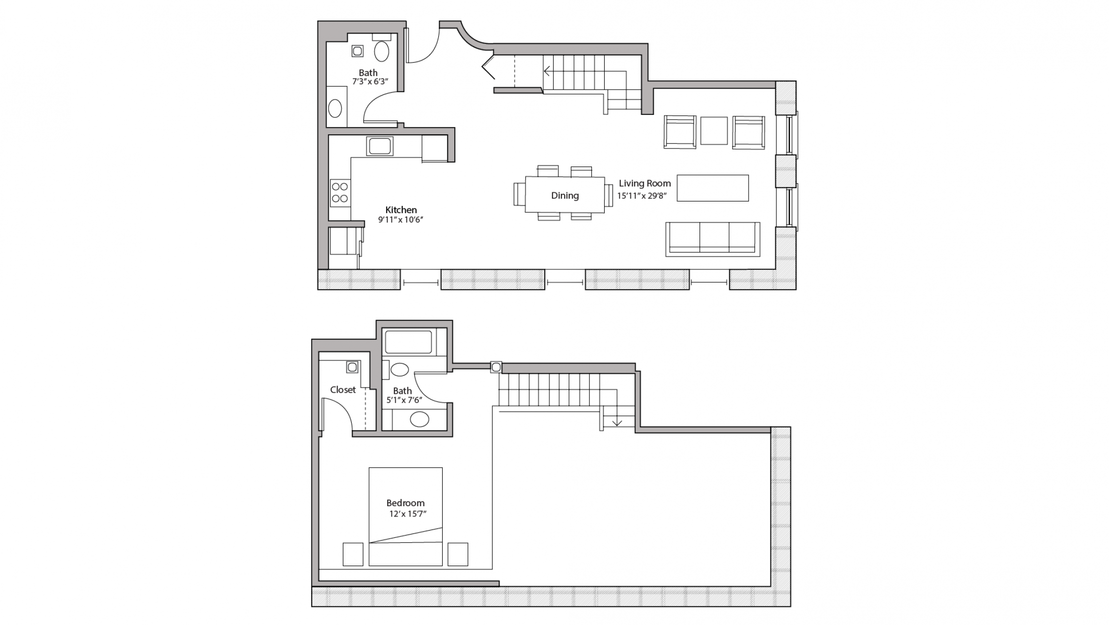 ULI Tobacco Lofts E202 - Two Bedroom, One and a Half Bathroom