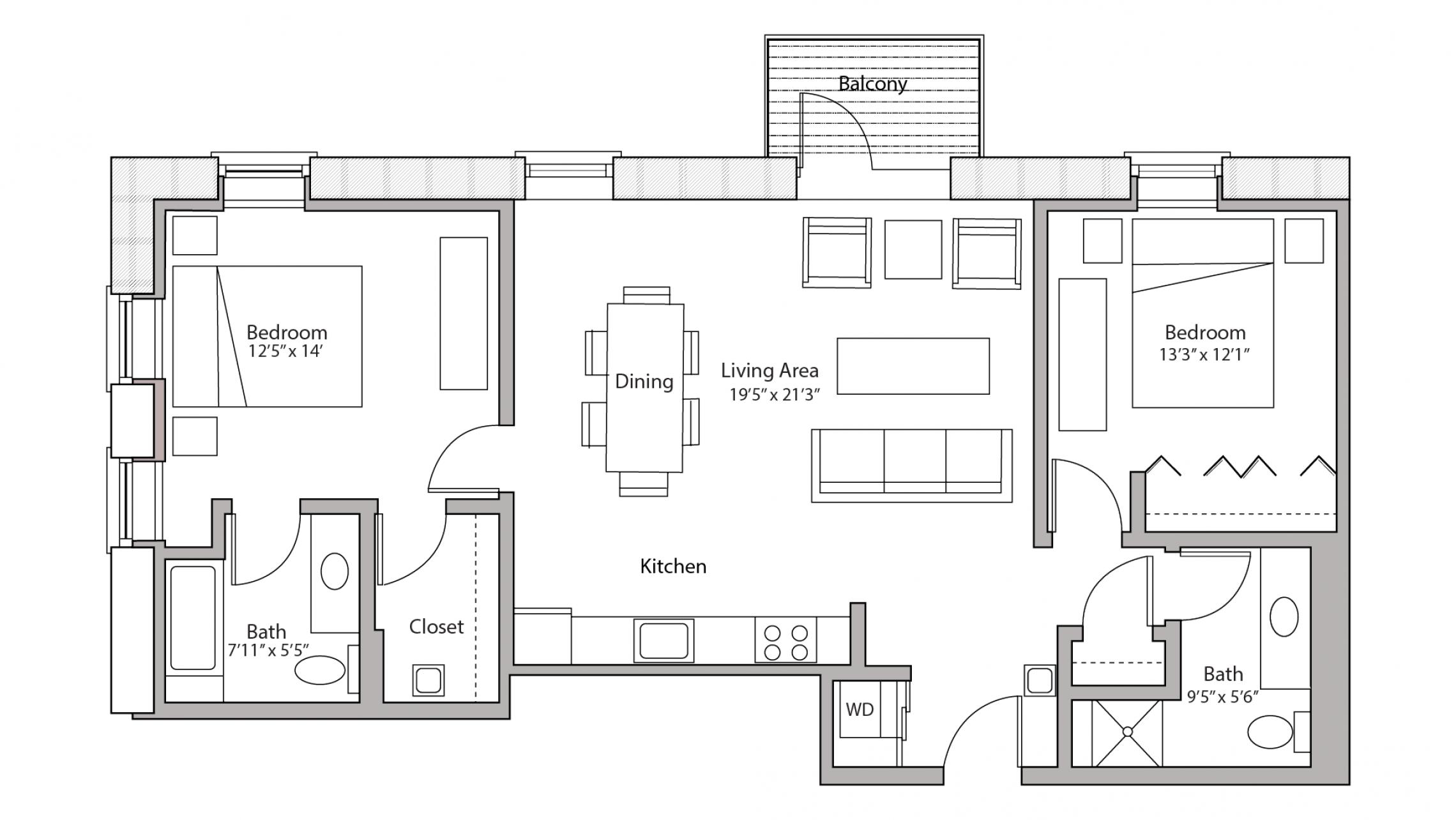 ULI Tobacco Lofts E213 - Two Bedroom, Two Bathroom