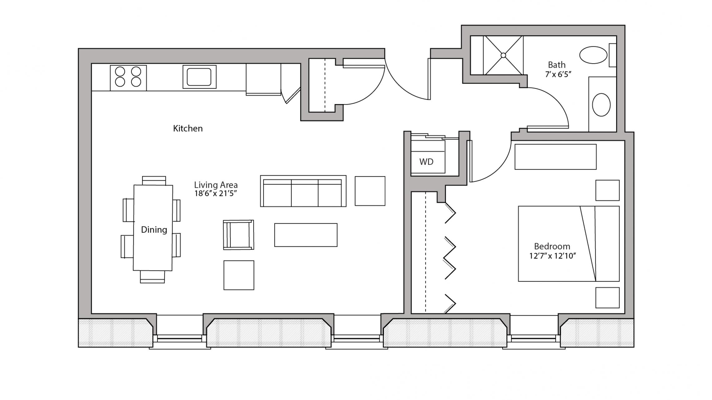 ULI Tobacco Lofts E310 - One Bedroom, One Bathroom