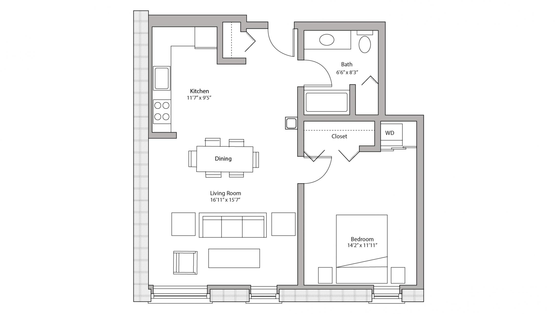 ULI Tobacco Lofts W216 - One Bedroom, One Bathroom