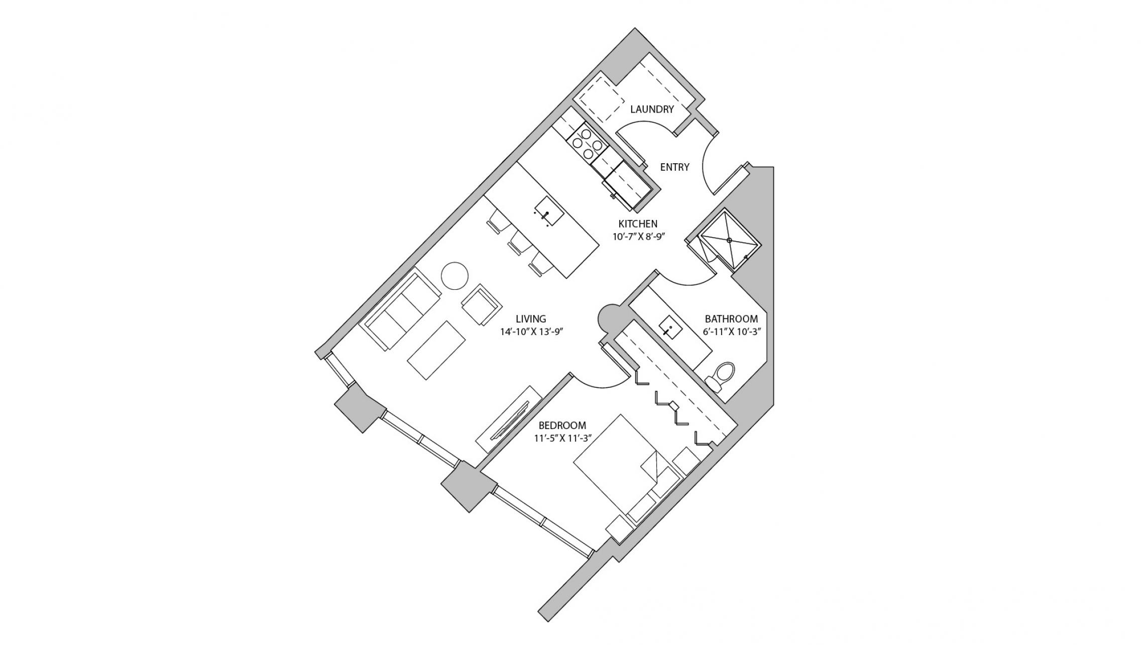 The Pressman - Apartment 217 - One Bedroom, One Bathroom Floorplan