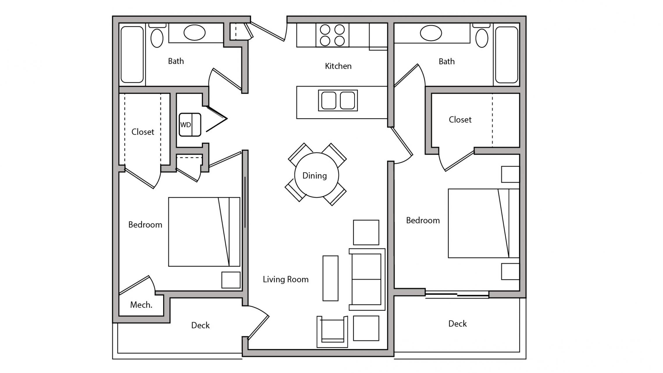 Wilson Bay Apartment 108 - Two Bedroom, Two Bathroom Floorplan